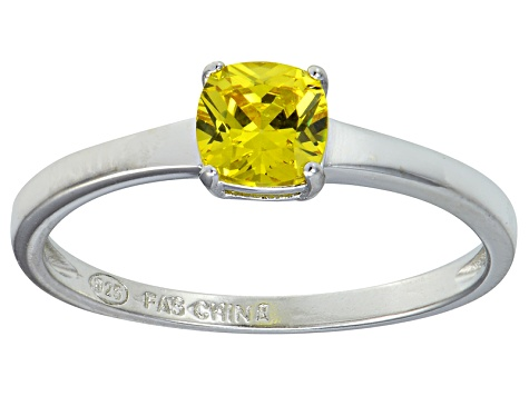 Bella Luce® 1.05ct Yellow Diamond Simulant Rhodium Over Silver Solitaire Ring