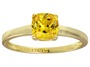 Bella Luce® 1.55ct Yellow Diamond Simulant 18k Gold Over Silver Solitaire Ring