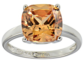 Bella Luce® 7.4ct Champagne Diamond Sim Rhodium Over Silver Solitaire Ring