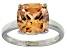 Bella Luce® 7.4ct Champagne Diamond Sim Rhodium Over Silver Solitaire Ring