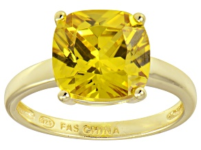 Bella Luce® 7.40ct Yellow Diamond Simulant 18k Gold Over Silver Solitaire Ring