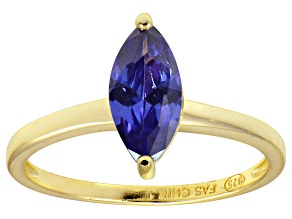 Bella Luce® 1.62ct Marquise Tanzanite Sim 18k Gold Over Silver Solitaire Ring