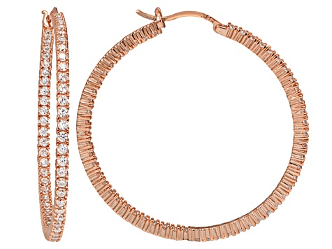 Bella Luce ® 6.60ctw Diamond Simulant 18k Rose Gold Over Silver Hoop Earrings