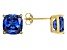 Bella Luce ® 7ctw Cushion Tanzanite Simulant 18kt Gold Over Silver Earrings