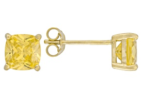 Bella Luce ® 3ctw Yellow Diamond Simulant 18kt Yellow Gold Over Silver Earrings
