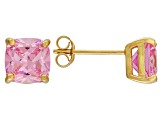 Bella Luce ® 5ctw Pink Diamond Simulant 18kt Yellow Gold Over Silver Earrings