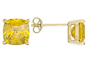 Bella Luce ® 7ctw Yellow Diamond Simulant 18kt Yellow Gold Over Silver Earrings