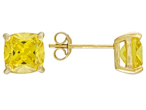 Bella Luce ® 5ctw Yellow Diamond Simulant 18kt Yellow Gold Over Silver Earrings