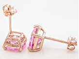 Bella Luce ® 5ctw Cushion Pink Diamond Simulant 18kt Gold Over Silver Earrings