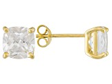 Bella Luce ® 5ctw Cushion Diamond Simulant 18kt Yellow Gold Over Silver Earrings