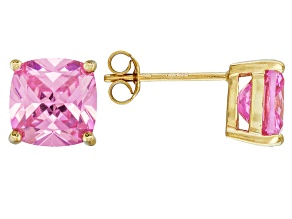 Bella Luce ® 7ctw Pink Diamond Simulant 18kt Yellow Gold Over Silver Earrings