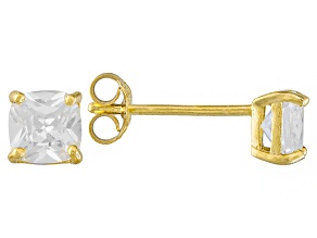 Bella Luce ® 2ctw Cushion Diamond Simulant 18kt Yellow Gold Over Silver Earrings