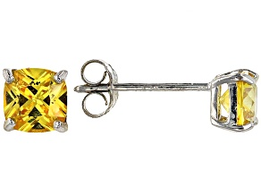 Bella Luce ® 2ctw Cushion Yellow Diamond Simulant Rhodium Over Silver Earrings