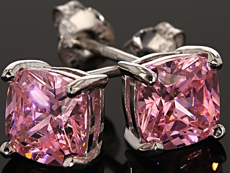 Bella Luce ® 3ctw Cushion Pink Diamond Simulant Rhodium Over Silver Earrings