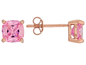 Bella Luce ® 3ctw Cushion Pink Diamond Simulant 18kt Gold Over Silver Earrings