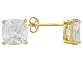 Bella Luce ® 7ctw Cushion Diamond Simulant 18kt Yellow Gold Over Silver Earrings