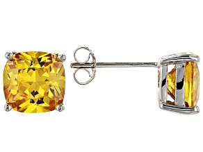 Bella Luce ® 7ctw Cushion Yellow Diamond Simulant Rhodium Over Silver Earrings