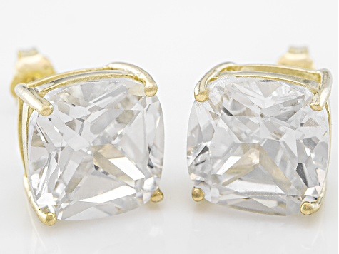 Bella Luce ® 13ctw Cushion Diamond Simulant 18kt Gold Over Silver Earrings