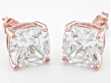Bella Luce ® 11ctw Cushion Diamond Simulant 18kt Rose Gold Over Silver Earrings