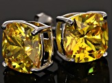 Bella Luce ® 11ctw Cushion Yellow Diamond Simulant Rhodium Over Silver Earrings