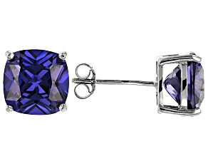 Bella Luce ® 11ctw Cushion Tanzanite Simulant Rhodium Over Silver Earrings