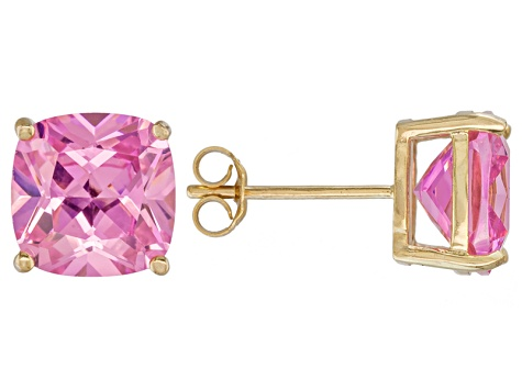 Bella Luce ® 11ctw Pink Diamond Simulant 18kt Yellow Gold Over Silver Earrings