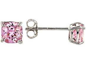 Bella Luce ® 5ctw Cushion Pink Diamond Simulant Rhodium Over Silver Earrings