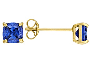Bella Luce ® 2ctw Cushion Tanzanite Simulant 18kt Gold Over Silver Earrings