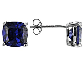 Bella Luce ® 7ctw Cushion Tanzanite Simulant Rhodium Over Silver Earrings