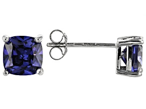 Bella Luce ® 3ctw Cushion Tanzanite Simulant Rhodium Over Silver Earrings