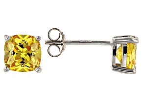 Bella Luce ® 3ctw Cushion Yellow Diamond Simulant Rhodium Over Silver Earrings
