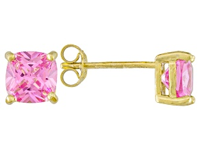 Bella Luce ® 3ctw Pink Diamond Simulant 18kt Yellow Gold Over Silver Earrings