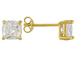 Bella Luce ® 3ctw Cushion Diamond Simulant 18kt Yellow Gold Over Silver Earrings