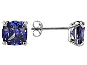 Bella Luce ® 5ctw Cushion Tanzanite Simulant Rhodium Over Silver Earrings
