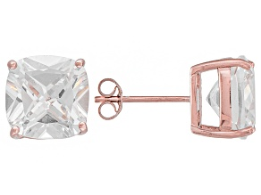 Bella Luce ® 13ctw Cushion Diamond Simulant 18kt Rose Gold Over Silver Earrings