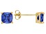 Bella Luce ® 3ctw Cushion Tanzanite Simulant 18kt Gold Over Silver Earrings