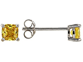 Bella Luce ® 1ctw Cushion Yellow Diamond Simulant Rhodium Over Silver Earrings