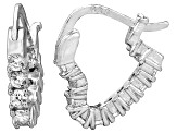 Bella Luce® 1.20ctw Diamond Simulant Rhodium Over Silver Heart Hoop Earrings