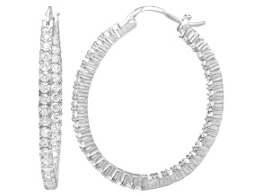 Bella Luce® 4.56ctw Diamond Simulant Rhodium Over Silver Oval Hoop Earrings