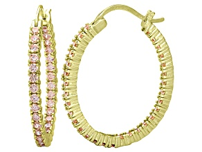 Bella Luce® 3.72ctw Champagne Diamond Simulant 18k Over Silver Hoop Earrings