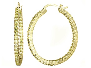 Bella Luce® 4.92ctw Yellow Diamond Simulant 18k Over Silver Oval Hoop Earrings