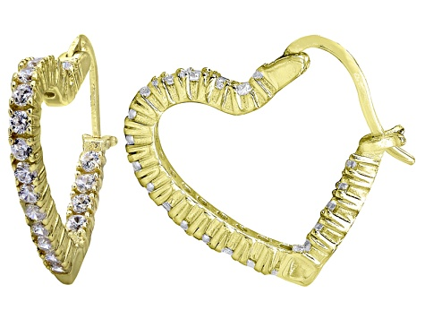 Bella Luce 2 52ctw Diamond Simulant 18k Over Silver Heart Shape Hoop Earrings