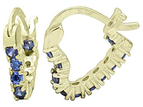 Bella Luce 1 20ctw Tanzanite Simulant 18k Over Silver Heart Shape Hoop Earrings