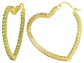 Bella Luce® 5.40ctw Yellow Diamond Simulant 18k Over Silver Hoop Earrings