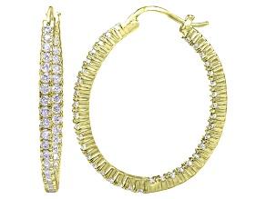 Bella Luce® 4.56ctw Diamond Simulant 18k Over Silver Oval Hoop Earrings