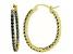 Bella Luce® 3.72ctw Tanzanite Simulant 18k Over Silver Oval Hoop Earrings