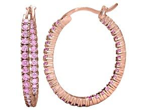 Bella Luce® 3.72ctw Pink Diamond Simulant 18k Gold Over Silver Hoop Earrings