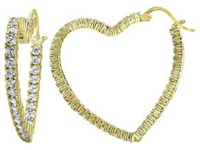 Bella Luce® 4.80ctw Diamond Simulant 18k Over Silver Heart Shape Hoop Earrings