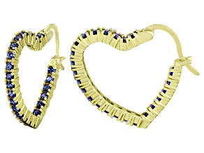 Bella Luce® 2.88ctw Tanzanite Simulant 18k Over Silver Heart Shape Hoop Earrings