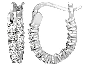 Bella Luce® 1.32ctw Diamond Simulant Rhodium Over Silver Oval Hoop Earrings